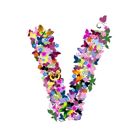 Pattern letter of butterflies and flowers Vector