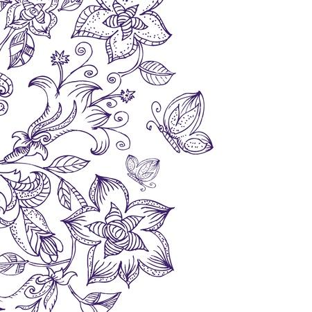 Floral pattern ink Vector