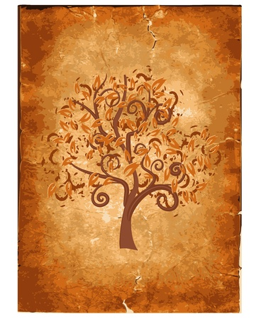 creative beauty: Old grunge paper with wood Illustration