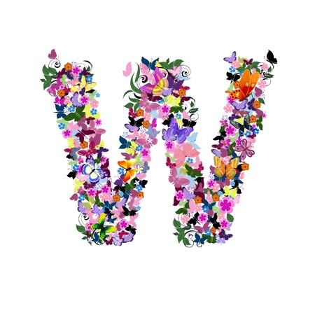 abstract letters: Pattern letter of butterflies and flowers
