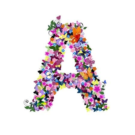 Carta del patrón de flores y mariposas Ilustración de vector