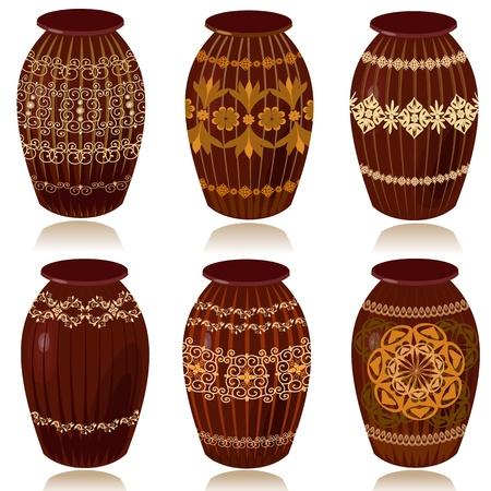 ollas de barro: Vasijas de cer�micas decorativas
