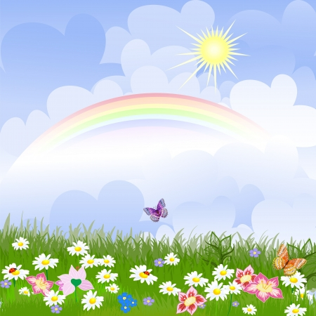 Floral landscape with rainbow Vector
