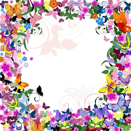 Frame floral pattern with butterflies Vector