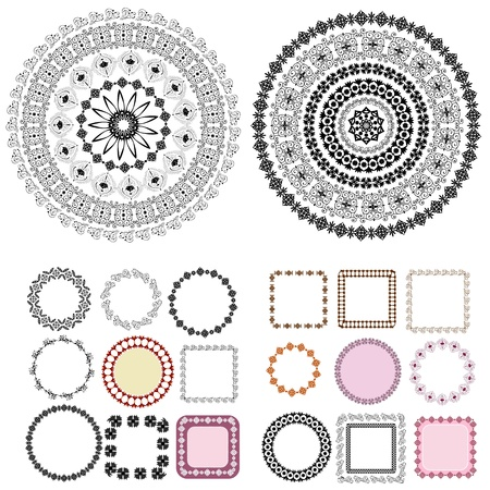 set of patterns and arabesques round frames Vector