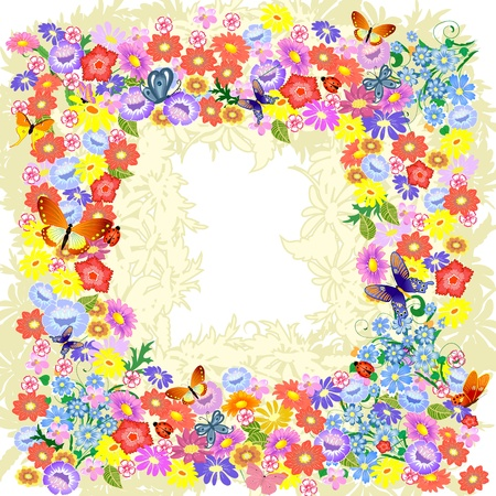 Frame flower romantic Vector