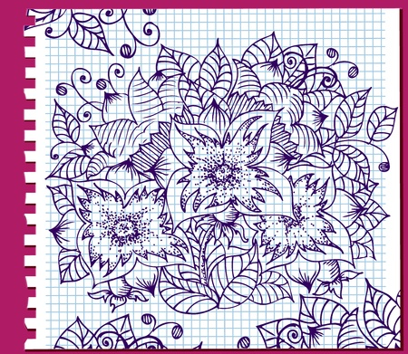 Ink floral pattern in a notebook Vector