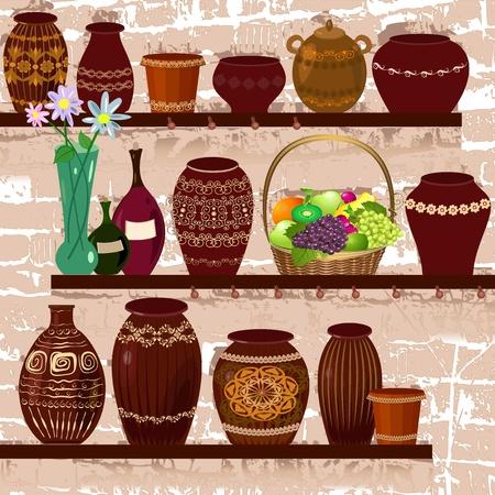 vases: shelves with ceramic pots