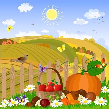 erntekorb: Herbst l�ndliche Landschaft