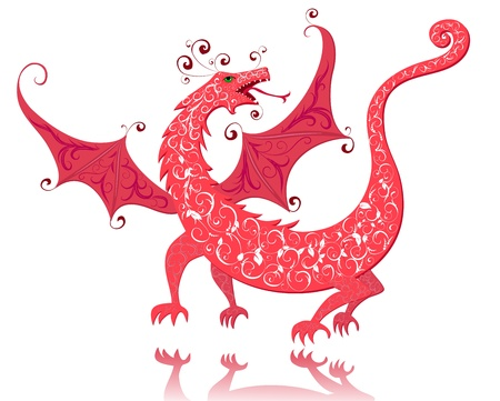 eastern zodiac: dragon red vintage Illustration