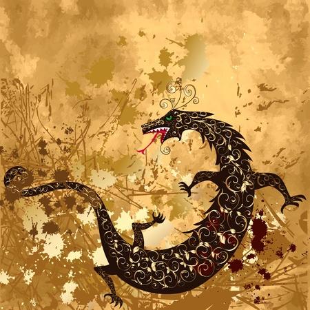 Dragón en un grunge de fondo Ilustración de vector