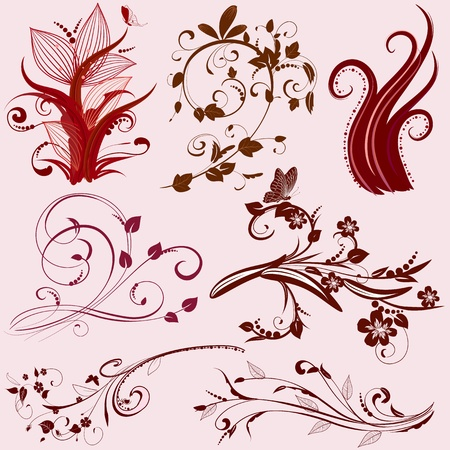 set of abstract floral patterns Stock Vector - 9233814