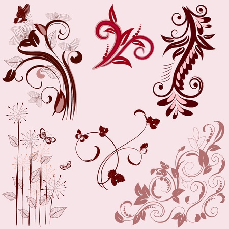 set of abstract floral patterns Stock Vector - 9233822