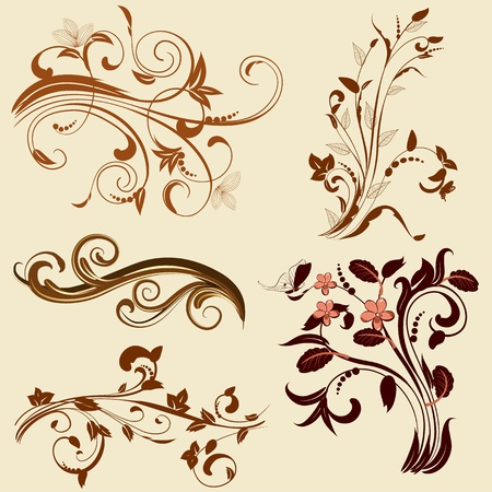 set of abstract floral patterns Vector