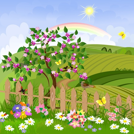 cartoon trees: spring landscape