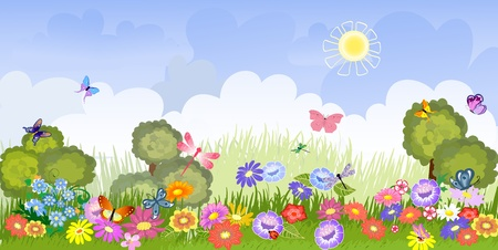 beautiful garden: Panorama floral lawn Illustration