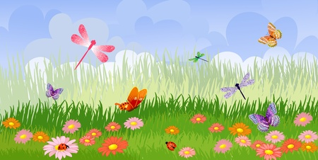 butterfly ladybird: Panorama floral lawn Illustration
