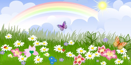 rainbow clouds: Panorama floral lawn Illustration