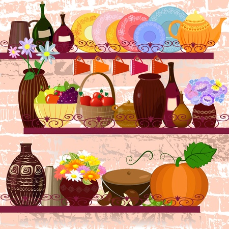 Shelves in the kitchen with utensils Stock Vector - 9233830