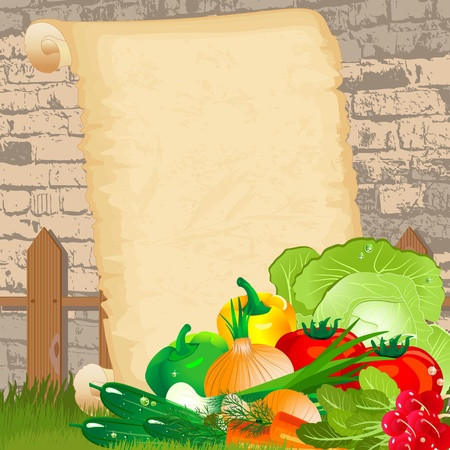 cartoon onion: Dietary menu on paper grunge