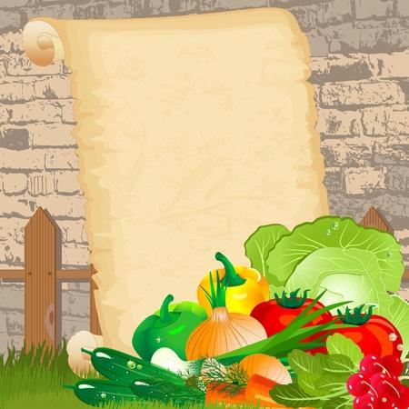 pepino caricatura: Men� diet�tico de grunge de papel
