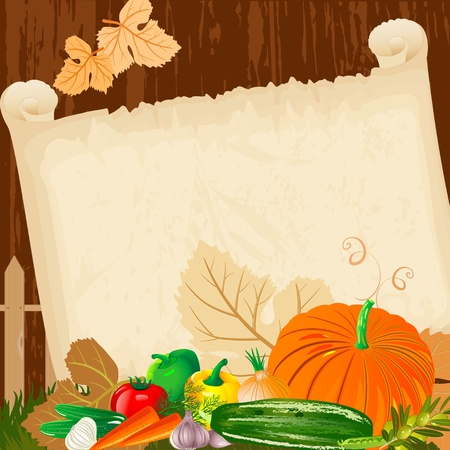 pumpkin tomato: Autumn harvest menu for paper grunge Illustration