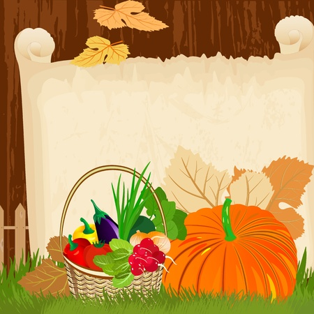 pumpkin tomato: Vegetables in a basket on the paper menu grunge Illustration