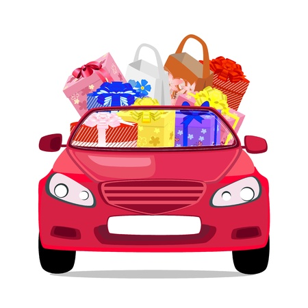 holiday car with gifts Vector