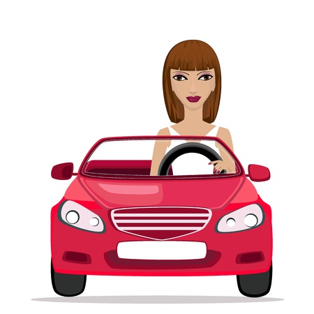 Woman in a red convertible Stock Vector - 9287015