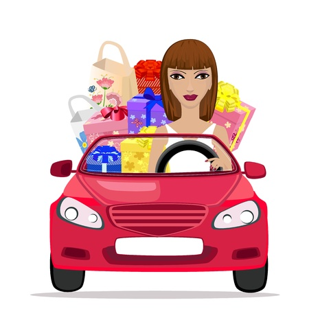 Girl with shopping in the car Stock Vector - 9287027