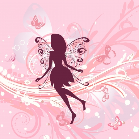 Fairy girl on a romantic floral background Vector