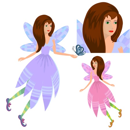 girl fairy with butterfly Vector