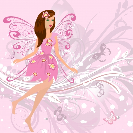 tales: Fairy girl on a romantic floral background Illustration