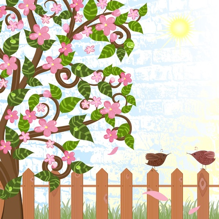 Cherry blossoms near the fence with birds Stock Vector - 9287032