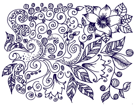 abstract doodle: ink floral design
