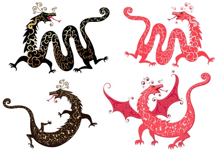 set of Chinese dragon Vector