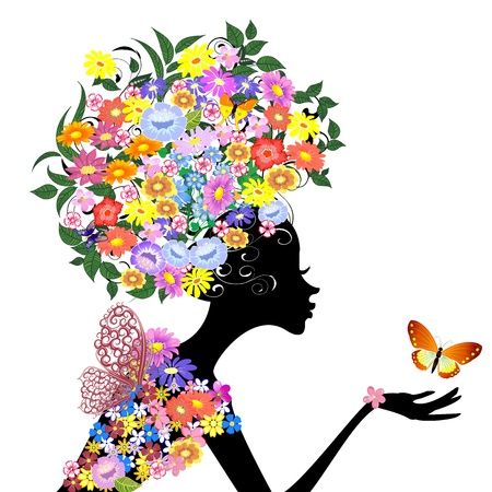 WOMAN SILHOUETTE: flower girl in profile with a butterfly