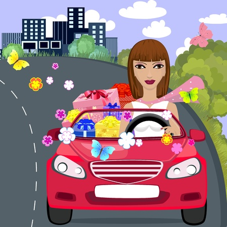car gift girl Vector