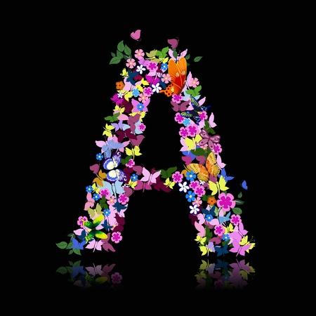cartas antiguas: Carta de flores y una mariposa Vectores
