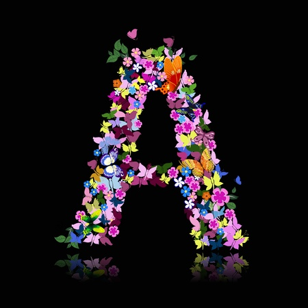 decorative letter: letter of flowers and a butterfly