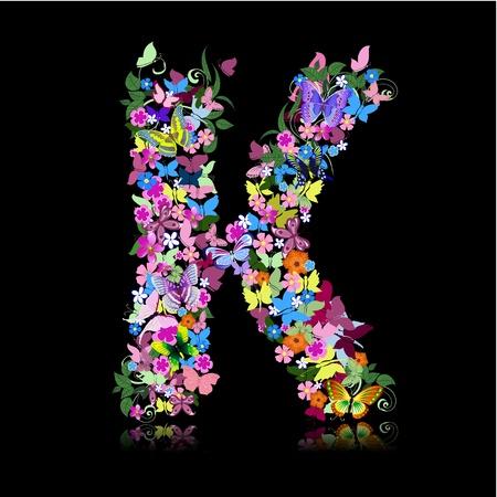 cartoon butterfly: Carta de flores y una mariposa Vectores
