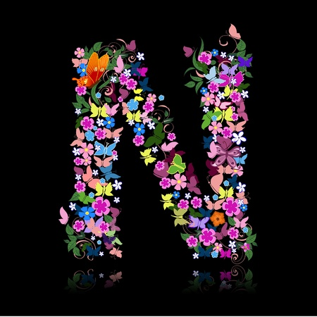 cheery: letter of flowers and a butterfly