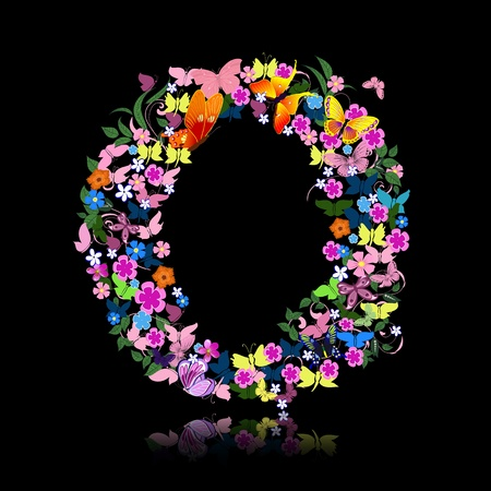 flower font: letter of flowers and a butterfly