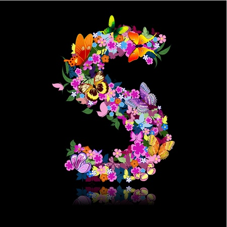beautiful alphabet: letter of flowers and a butterfly