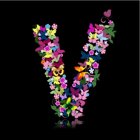 letter of flowers and a butterfly Stock Vector - 9422554