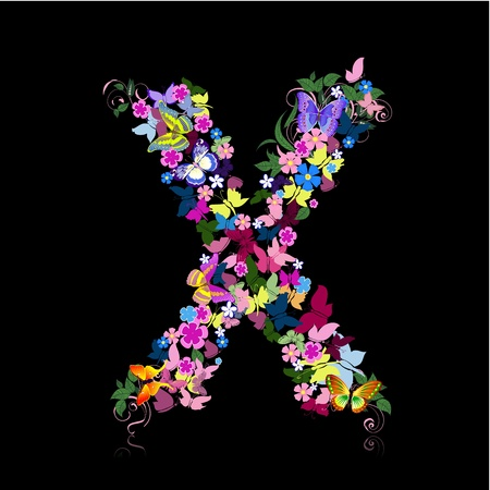 letter of flowers and a butterfly Vector