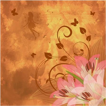 floral retro fantasy Vector