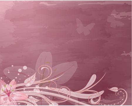 dessin papillon: fleurs roses r�tro fantastique