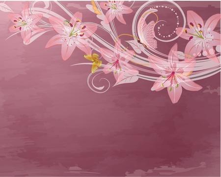 scroll border: pink retro fantasy flowers