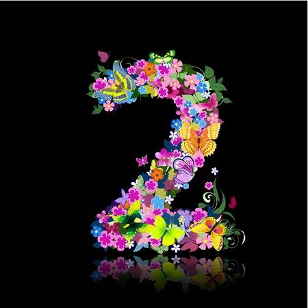 write abc: Carta de figuras de flores y mariposas Vectores